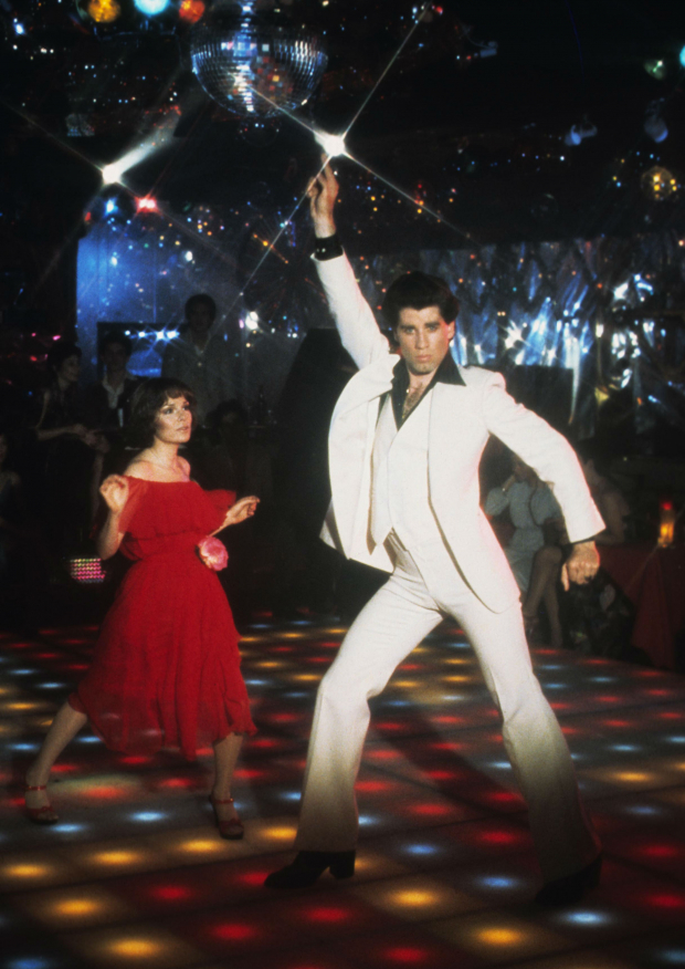 "John Travolta i ""Saturday Night Fever"" i 1977."