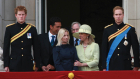 Prins Harry, Gary Lewis, Lady Davina Windsor, prins Richard, hertuginden af Gloucester og prins William til Trooping the Colour på Buckingham Palace 14. juni 2008.