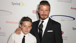 David Beckham med sønnen Brooklyn.
